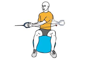 Rotación de tronco con cable-polea sentado en pelota de pilates