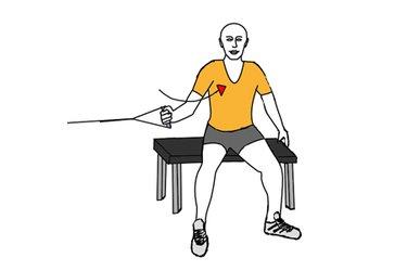 Aducción y rotación de hombro con polea sentado