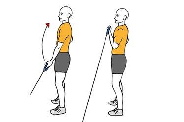 Curl de biceps a una mano con cable-polea de pie
