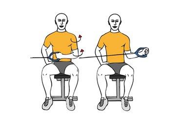 Rotación externa de hombro con cable-polea sentado