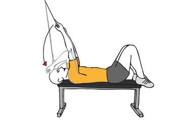 Curl de biceps con cable-polea acostado en banco plano