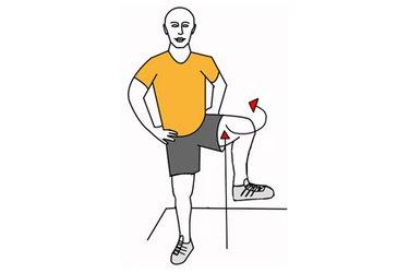 Rotación externa de cadera de pie con rodilla levantada