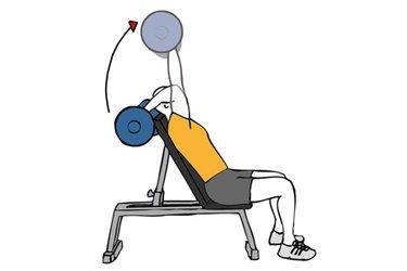 Extension de triceps o press frances con barra en banco inclinado