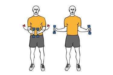 Rotación de hombros con mancuernas de pie