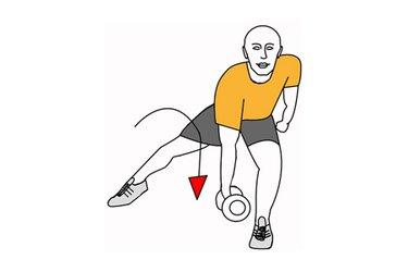 Zancada y flexion de tronco adelante con mancuerna