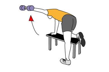 Apertura lateral con mancuerna rodilla apoyada