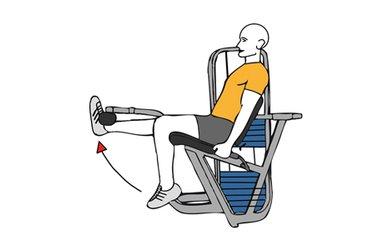 Extensión de una rodilla en maquina sentado