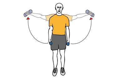 Elevación lateral de hombros con mancuernas de pie brazos estirados