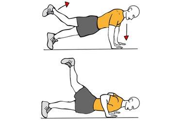 Flexión de brazos y extensión de cadera