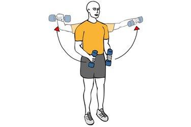 Elevación lateral de hombros con mancuernas de pie