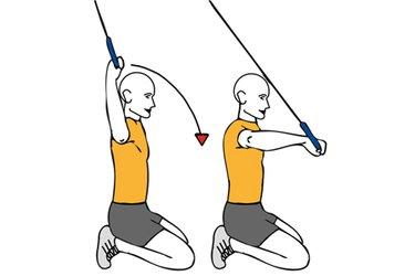 Rotación de hombro con cable-polea de rodillas