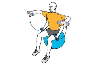 Elevación lateral con mancuernas flexión de codo sentado en pelota de pilates