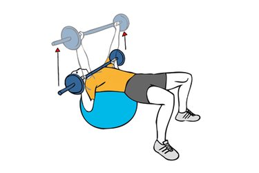 Press pectoral con barra sobre pelota de pilates