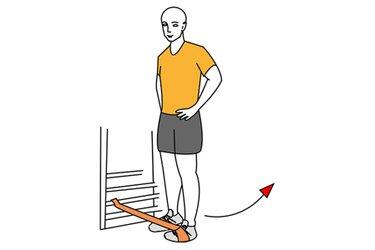 Abducción de cadera con banda elastica y piernas cerradas