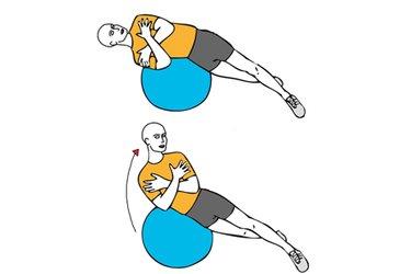 Flexión lateral de tronco sobre pelota de pilates