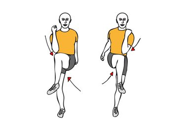 Flexión de caderas alternas hacia el codo contrario