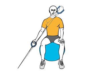 Tirón de abajo-arriba a una mano con cable-polea sentado en pelota de pilates