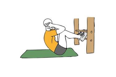 Encogimientos abdominales con rodillas flexionadas y pies sujetos