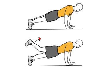Extensión de cadera sobre apoyo de pies y manos