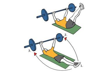 Flexión de caderas boca arriba sujentando una barra