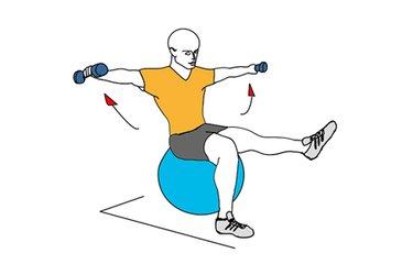 Elevación lateral con mancuernas sentado sobre pelota de pilates
