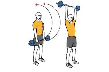 Elevacion frontal de hombros con barra