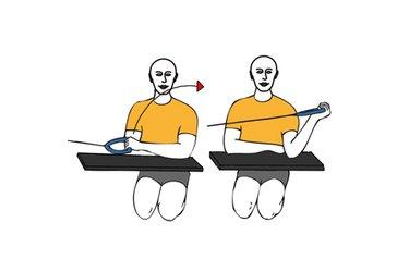 Rotanción externa de hombro con cable-polea brazo apoyado