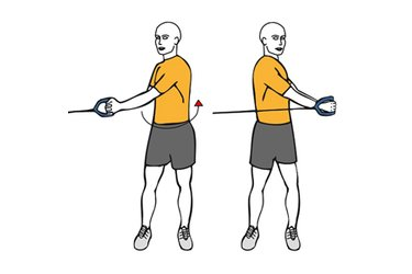Rotanción de tronco de pie con cable-polea a dos manos