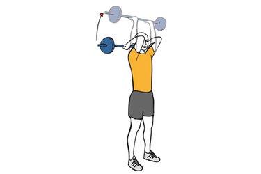 Extension triceps o press frances con barra de pie
