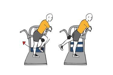 Extensión de una cadera en maquina de pie