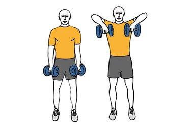 Elevación de hombros con mancuernas de pie