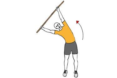 Giro de cintura con barra brazos estirados