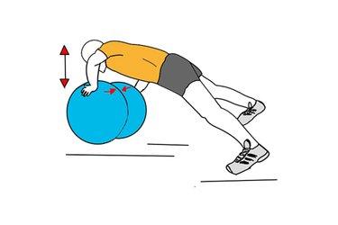 Flexiones de brazos sobre dos pelotas de pilates juntas