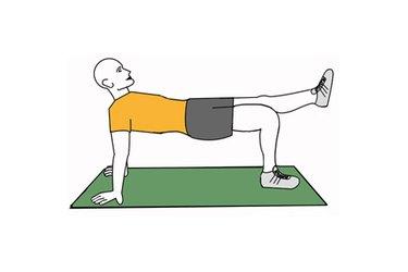 Equilibrio en cuadrupedia supina con pierna estirada