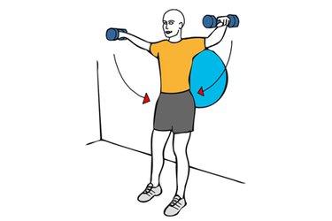 Elevacion lateral de hombros con mancuernas apoyado en pelota de pilates