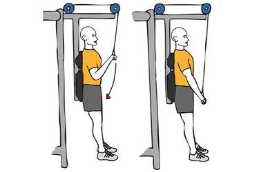 Extensión de triceps con cable-polea de pie espalda apoyada