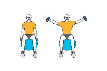 Elevación lateral de hombros con mancuernas sentado en pelota de pilates