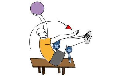 Flexión de tronco sujeto en banco y con balón medicinal en una mano