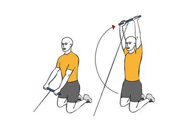 Elevación frontal de hombros con cable-polea de rodillas