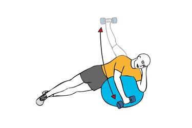 Elevación lateral de hombro con mancuerna apoyado sobre pelota de pilates