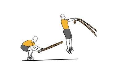 Batida de cuerda con las dos manos y salto vertical