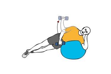 Rotacion de hombro con mancuerna tumbado lateral sobre pelota de pilates