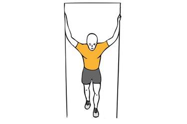 Estiramiento pectoral con brazos en cruz y apoyados