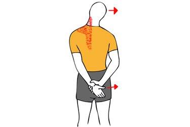 Estiramiento de trapecio y cuello con brazo en la espalda