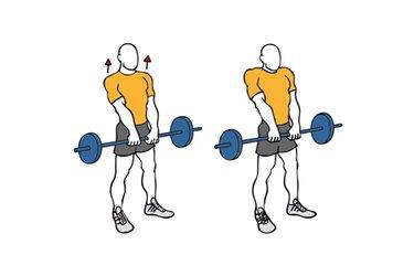 Encogimiento de hombros de pie con barra