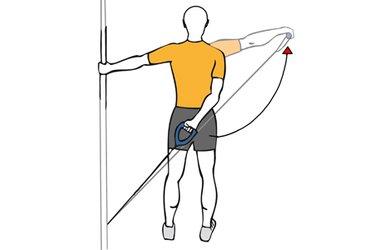 Elevación de hombro por detrás con cable-polea