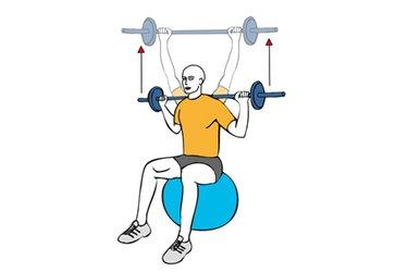 Press trasnuca con barra sentado en pelota de pilates
