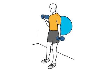 Curl de biceps alterno con mancuernas apoyado en pelota de pilates