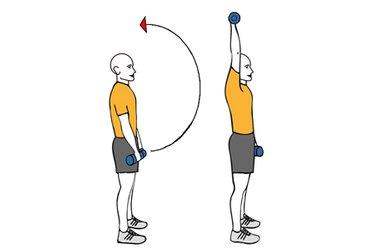 Elevacion frontal de brazo con mancuerna hasta la vertical