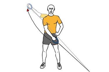 Tirón diagonal a una mano agarre prono con cable-polea de pie